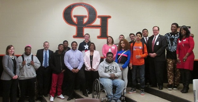 Fifth Third Bank employees and students in the Ambassador Club at Ottawa Hills High School.