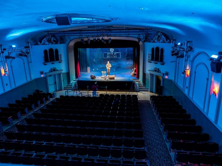 """Steve Leaf peforming at Wealthy Theatre with no physical audience, as part of a """"WYCE at Wealthy"""" virtual concert on July 27."""