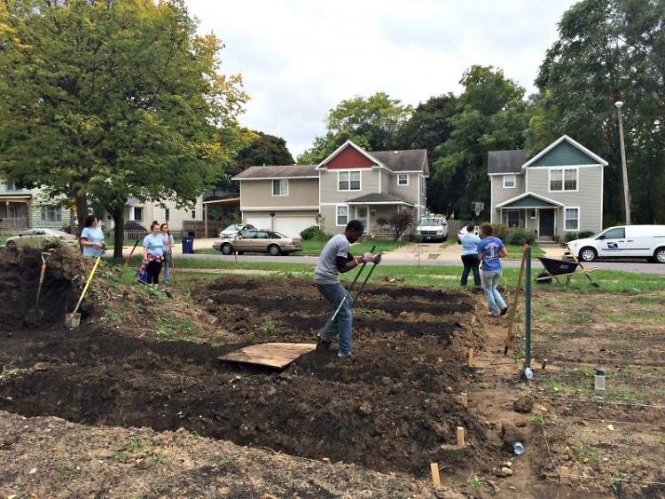 Volunteers working on the Urban Roots Community Garden
