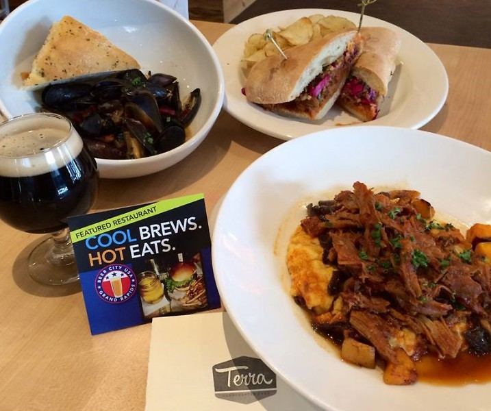 Terra GR's Cool Brews. Hot Eats. menu featured beer-steamed mussels and curried barbecue pork.