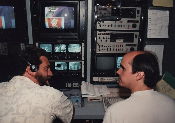 Dirk (left) and Chuck (right) in production truck.
