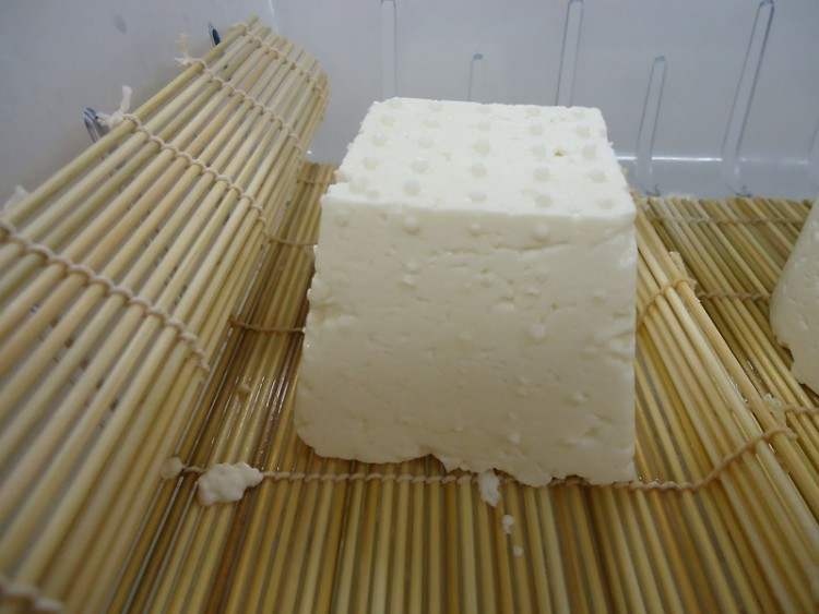 A fresh, 1 pound block of feta goat cheese.