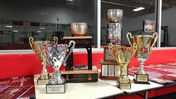 Trophies that are given out to the winners of each tournament bracket ran by An Edge Above.