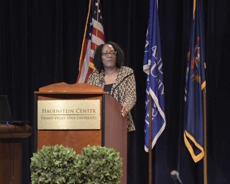Christy S. Coleman, CEO of the American Civil War Museum in Richmond, Virginia speaks a GVSU as part if MLK week