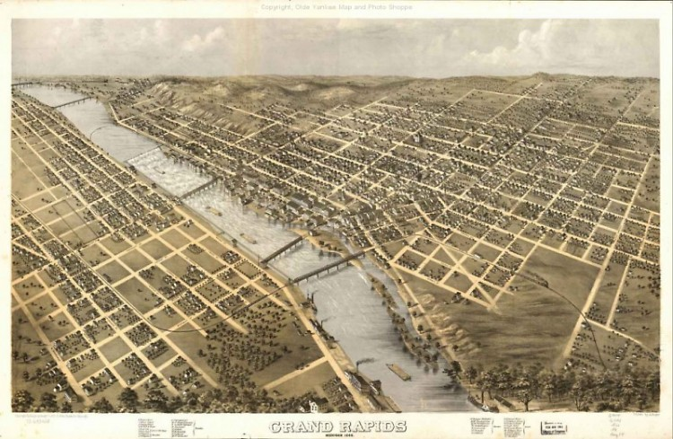 The community of Grand Rapids keeps expanding, as evidenced in this image from 1868