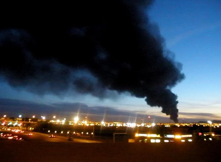 Skyline of Ciudad Juarez during a factory fire