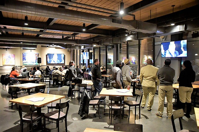 People gathered at the Knickerbocker Brewery to watch '60 minutes'