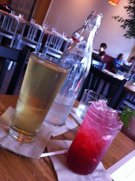 Trillium Haven drinks. Right to left: hard cider, Trillium Haven's old fashioned lemonade style water pitcher, raspberry mojito