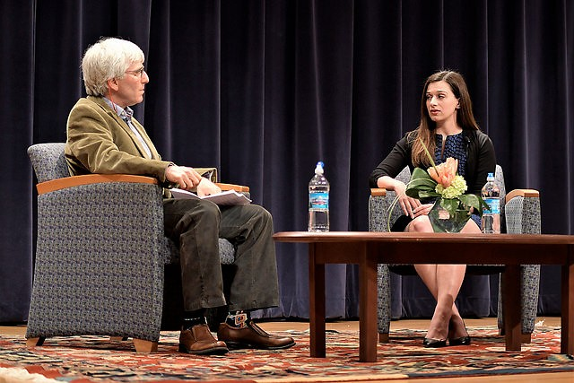 GVSU journalist professor Jeff Kelly Lowenstein talks with Indystar reporter Marisa Kwiatkowski