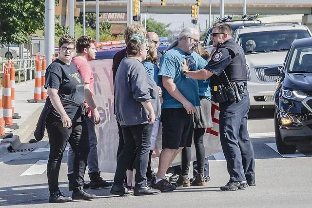 GRPD confronts protestors at Michigan and Ottawa