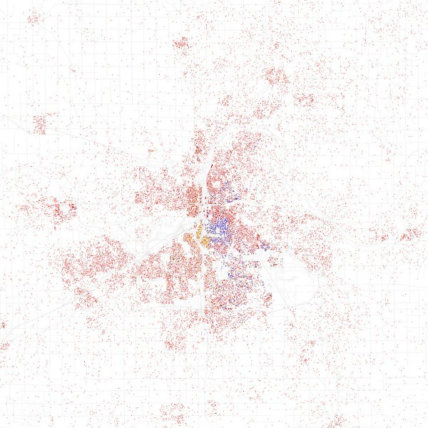 2000 census data of ethnicities in GR mapped out. Dot=25 people, Red=White, Blue=Black, Green=Asian, Orange=Hispanic, Gray=Other