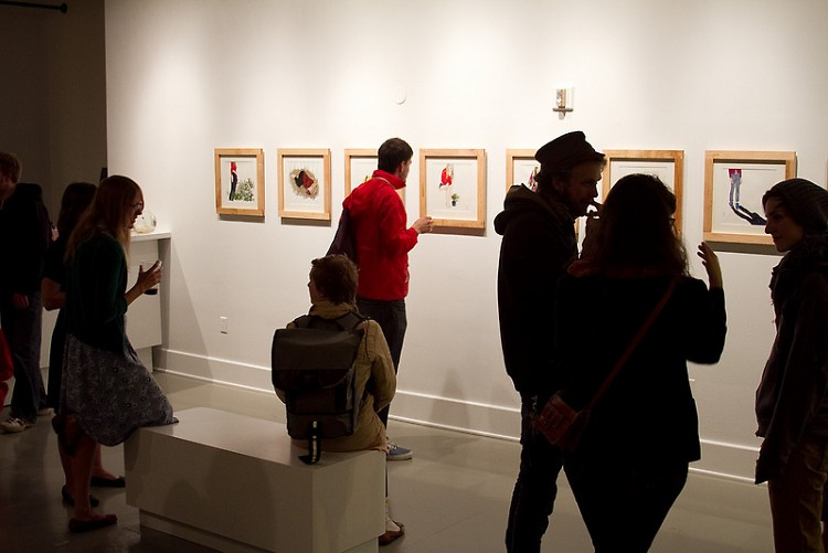 Acker's work on display at Miscellany's 03/30 soft opening