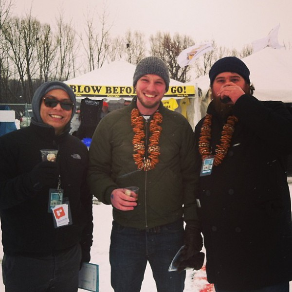 2013 Michigan Winter Beer Festival attendees sport their pretzel necklaces