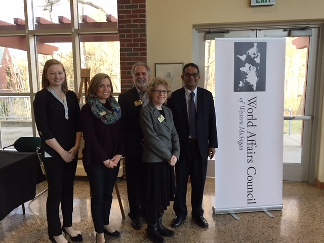 """American University's Amitav Acharya at the February 26 """"Great Decisions"""" event at Aquinas College."""