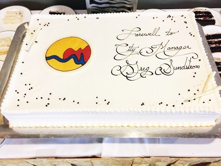 Cake at Sundstrom's retirement party