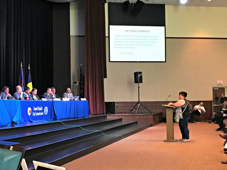 Alicia Reece speaking during public comments at the June 7, 2017 City Commission meeting at the Kroc Center.