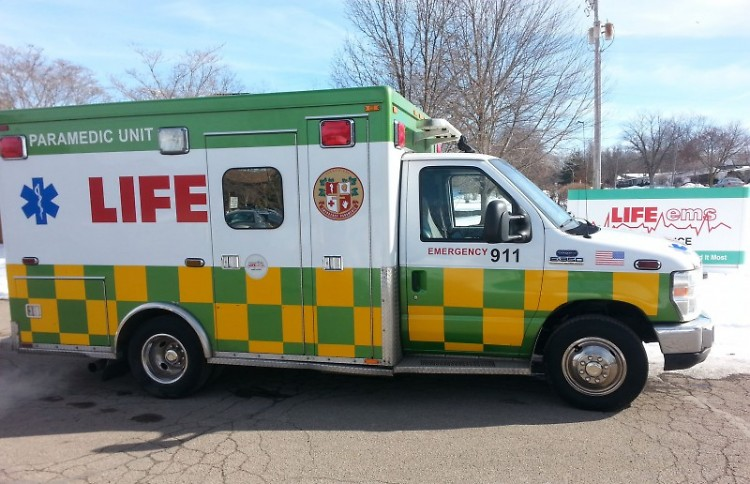 A Life EMS vehicle prepares to go out for a call.