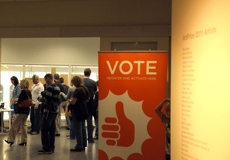 Sign at UICA encourages visitors to vote