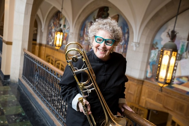 Ava Ordman, formerly principal trombonist of the Grand Rapids Symphony, returns as soloist on May 3.