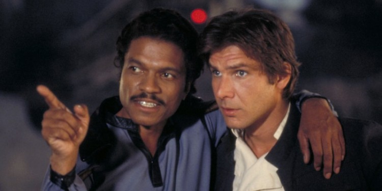 Billy Dee Williams, left, plays Lando Calrissian in Star Wars: the Empire Strikes Back