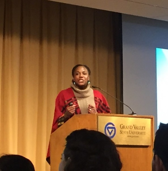 Bree Newsome, American Filmmaker and activist, speaking at the Kirkhof Center of Grand Valley State University