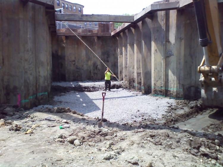 Culvert excavation and parkinglot removal as park of the Muddy River Restoration to restore natural habitat & flood plain
