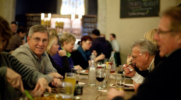 Members of the Rapidian community gathering at a Night Out at Brewery Vivant last fall