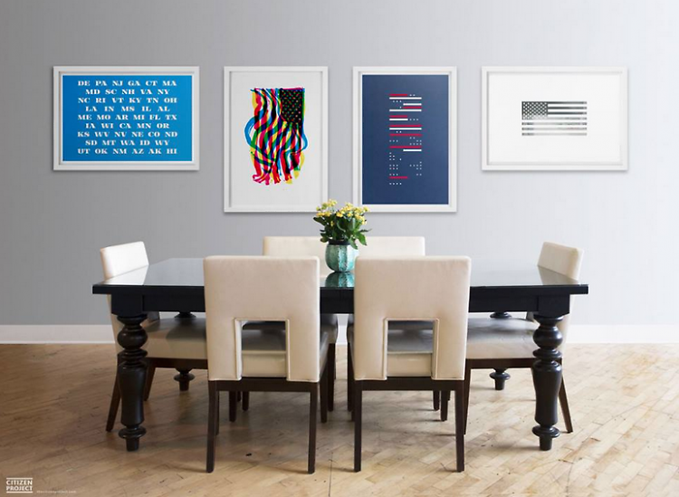 Set of four American flag inspired screen prints