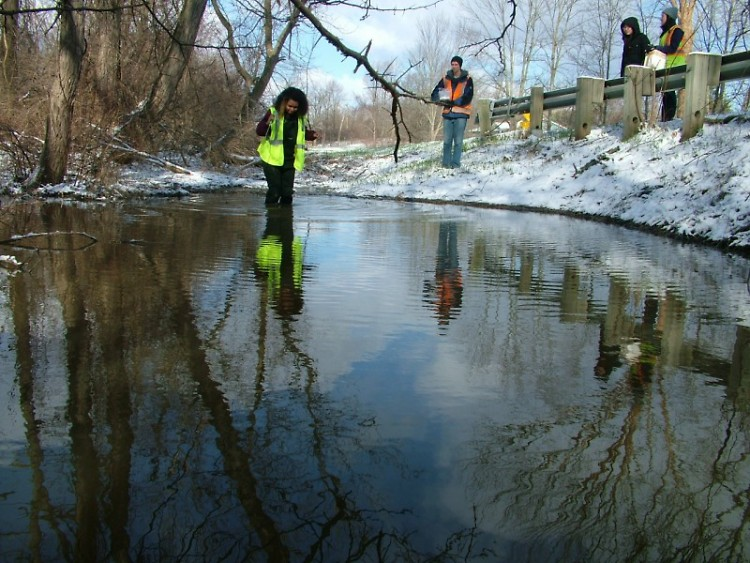 Students collecting water samples from Plaster Creek where it crosses under 76th Street in the rural headwaters region of the wa