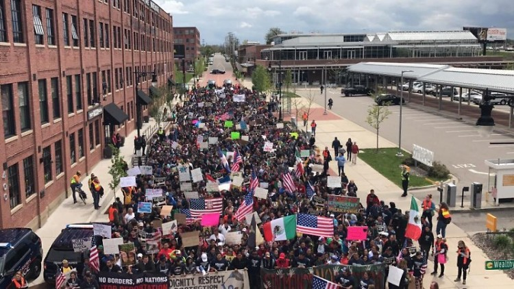 #ADayWithoutImmigrants march on May Day, 2017, led by Cosecha.