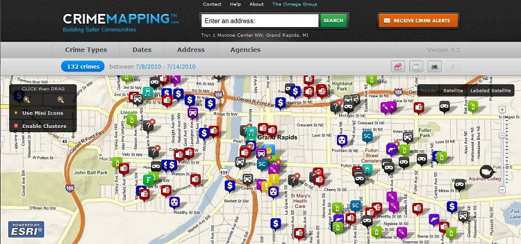 The crime mapping feature for Grand Rapids allows a user to see what types of crimes happen where.