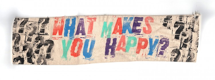 """Dave Battjes. """"What Makes You Happy?"""" Ink, hardware on canvas. 2021"""