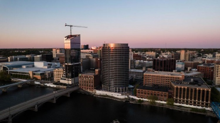 Downtown Grand Rapids skyline at dusk.