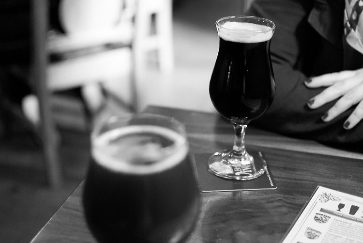 Chatting over Brewery Vivant beer