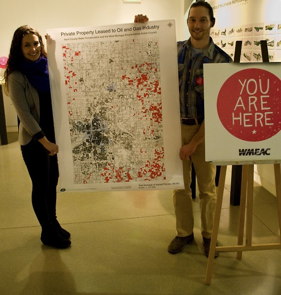 Stephanie Mabie and Brian Keeley, co-founders of Kent County Water Conservation display a map of private land leases.
