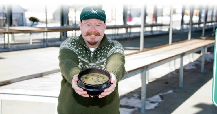 Matt Overdevest with soup