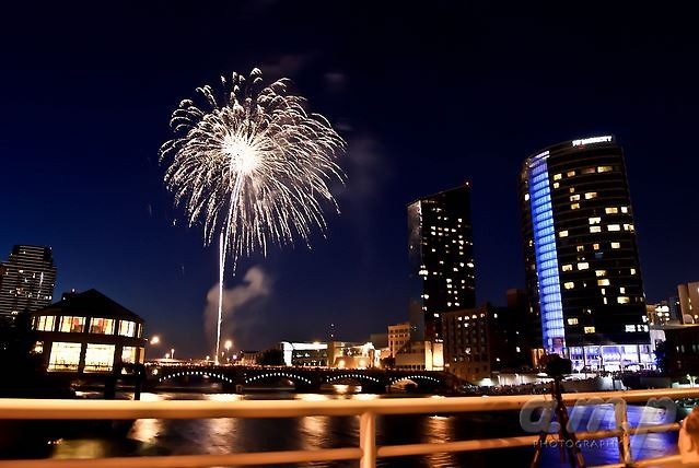 Fireworks over the Grand River