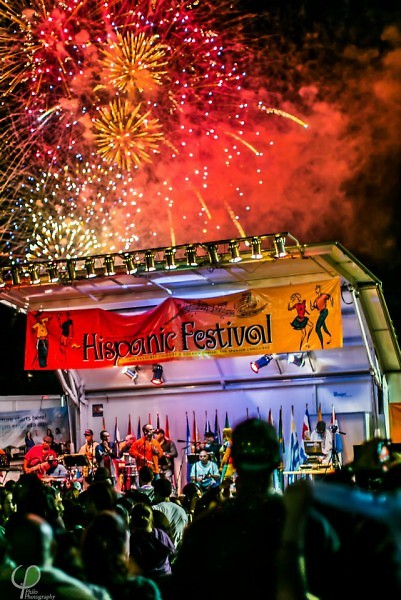 Fireworks over the Hispanic Festival.