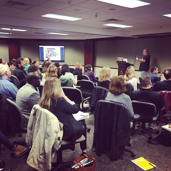 Jeff Smith from GRIID shared about food justice at the training on April 11.