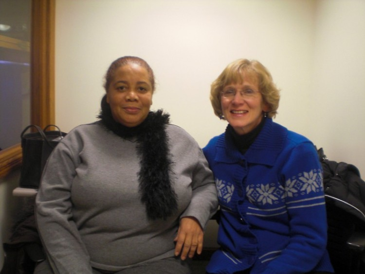 Flor de América Heredia de Javier and her tutor, Barb Foley. They have been meeting since February 2010.