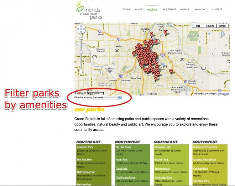 """GR has 89 parks. Filter parks by amenities on <a href=""""http://explore.friendsofgrparks.org/"""">Friends of GR Parks' Website</a>."""
