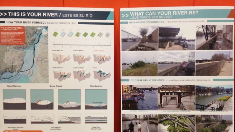 """GR Forward boards, with headings of """"This is your river."""" and """"What can your river be?"""""""
