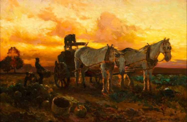 """Gathering Pumpkins at Sunset"" (1907) by Mathias Alten in the Gordon Gallery of Art at Grand Valley State University."
