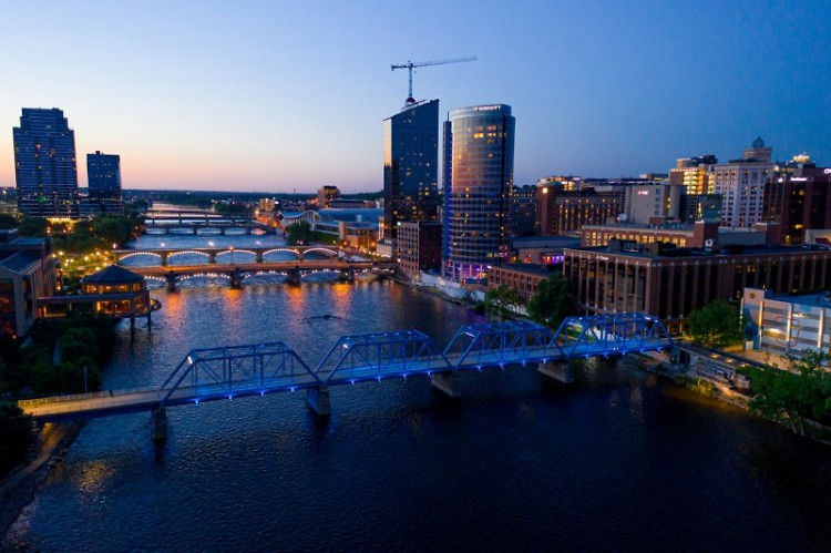 Grand Rapids skyline at dusk.