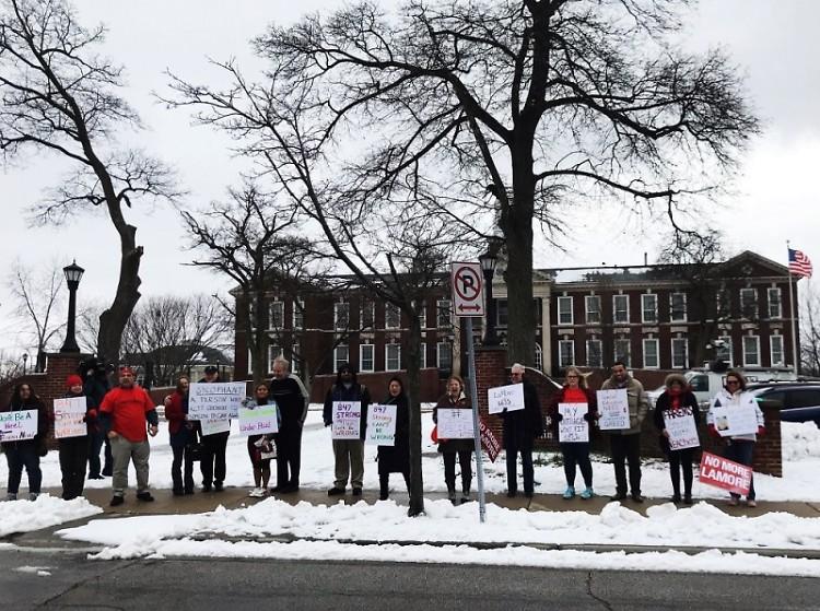 Protesters outside GRPS administration buildings before school board meeting