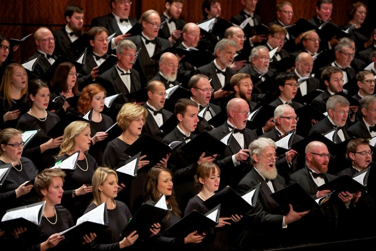 "Grand Rapids Symphony Chorus and Youth Chorus joins the orchestra to sing ""Carmina Burana"" on May 13-14, 2016 in DeVos Hall."