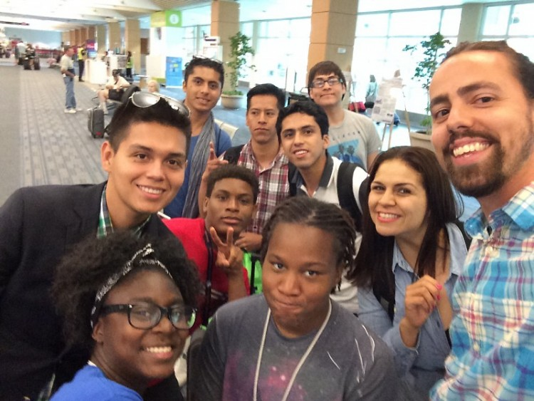 The team from Mexico arrives at airport July 7 and is welcomed by WMCAT teens and staff