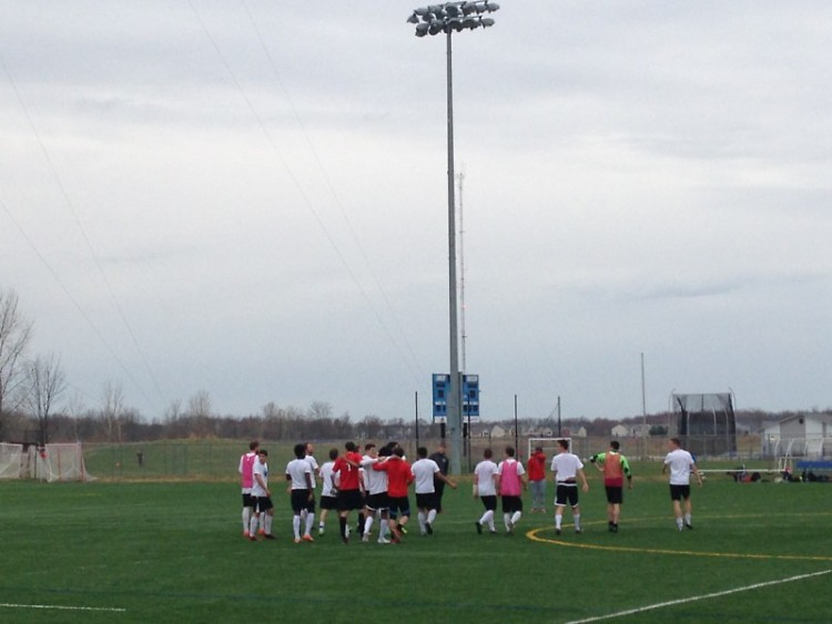 GRFC team on the field at Grand Valley State University on Sunday, April 12, 2015 after defeating the GV men's club team
