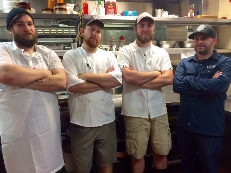 Executive Chef/General Manager Chris Weimer (far right) and three of Brewery Vivant's chefs.