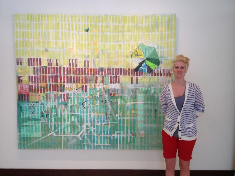 Wierenga in front of her piece 'Lost and Found'
